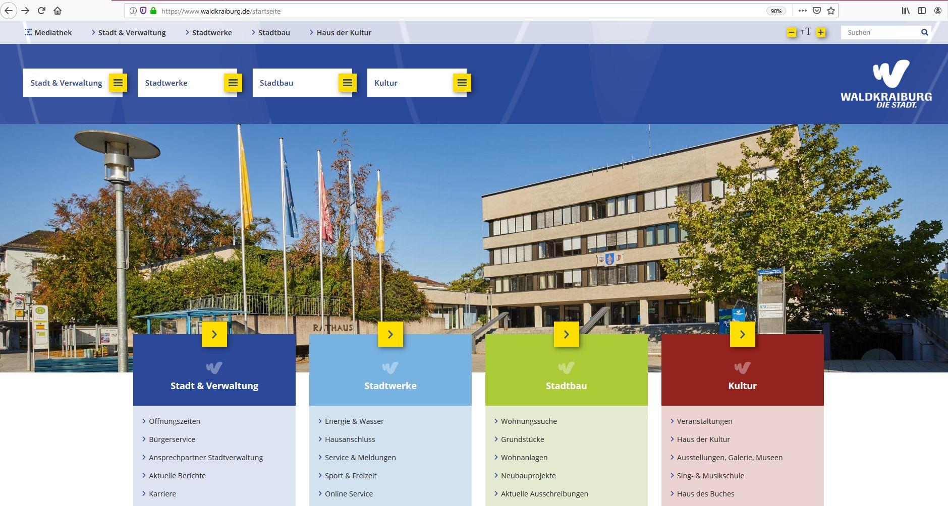 Screenshot Stadtseite neue HP